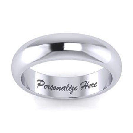 14K White Gold 5MM Heavy Comfort Fit Ladies and Mens Wedding Band Size 3 Free Engraving