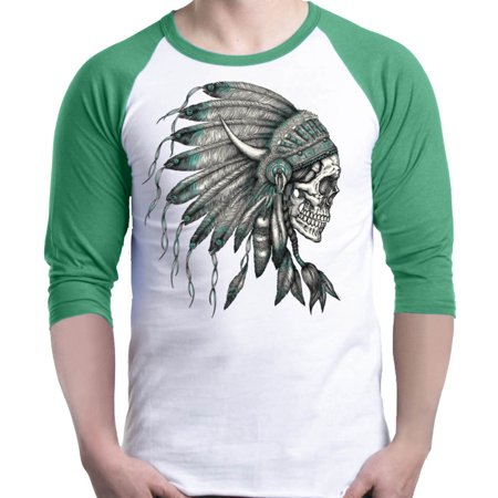 Shop4Ever Men's Side Chief Skull Headdress Native American Raglan Baseball Shirt X-Small White/Kelly Native American War Shirts