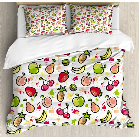 Fruits Duvet Cover Set, Watercolor Pear Cherries Kiwi Apple Brushstroke Splashes Cute Kids Kitchen, Decorative Bedding Set with Pillow Shams, Peach Lime Green Red, by Ambesonne ()