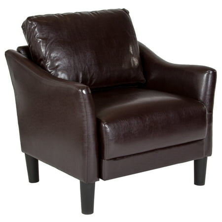 Leather Living Room Chaise (Asti Flash Furniture Upholstered Living Room Chair with Slanted Arms in Brown Leather)