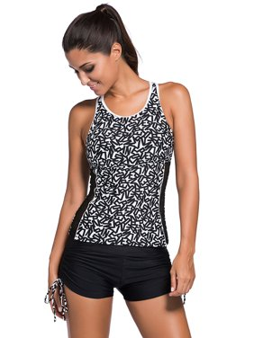 7e7350b004f Product Image Juniors  Swimsuit Celebrity Active Monochrome Racerback  Tankini and Swim Shorts (Small