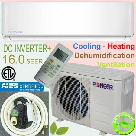 PIONEER Ductless Mini Split Inverter Heat Pump System. 36,000 BTU/h, 208-230V, 16.0 (Best Ductless Split System)