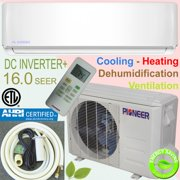 PIONEER Ductless Mini Split Inverter Heat Pump System. 36,000 BTU/h, 208-230V, 16.0 SEER