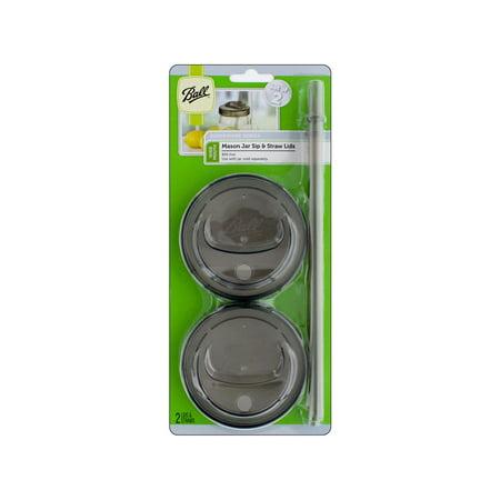 Ball Jar Sip & Straw Lid w/Band 2pc Regular - Ball Jar Accessories