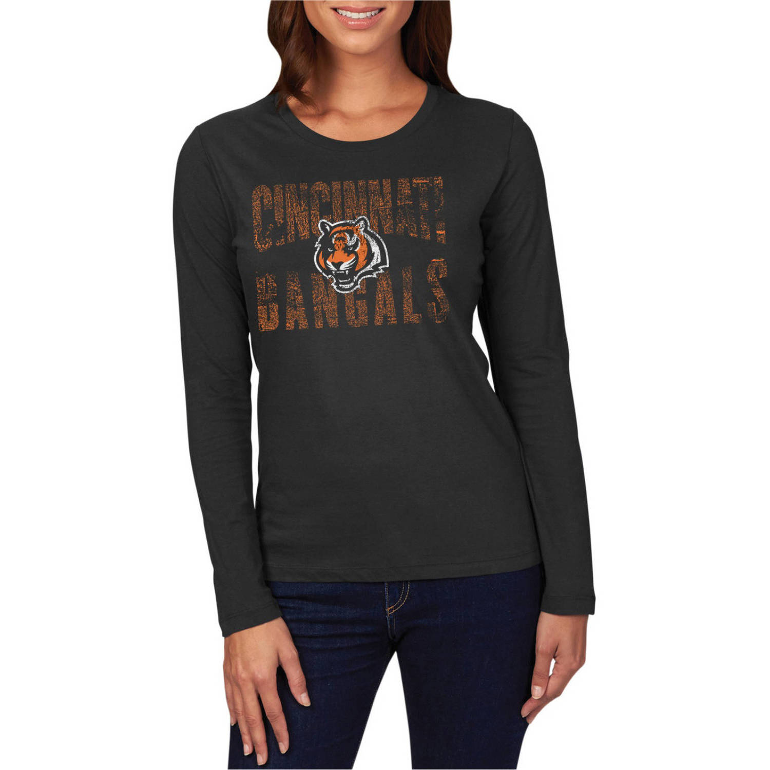 NFL Cincinnati Bengals Women's Plus Long Sleeve Crew Neck Tee