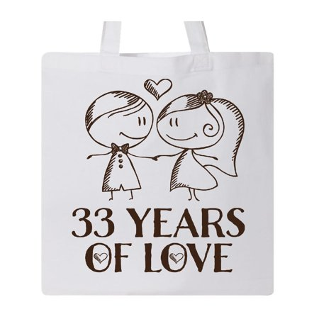 33rd Anniversary couples line drawing Tote Bag White One - Lined Print Tote