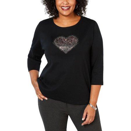 Karen Scott Womens Plus Embellished Crew Neck T-Shirt Embellished Womens Suits