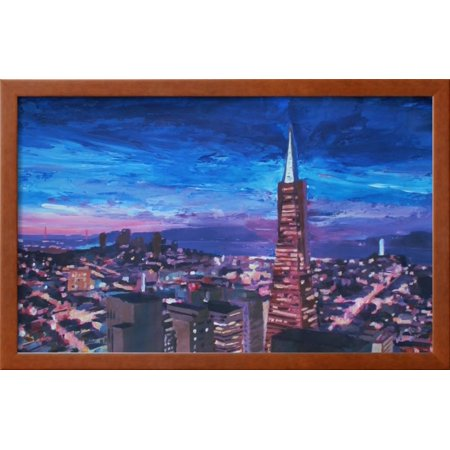 Transamerica Pyramid At San Francisco Night Framed Art Print Wall Interesting Transamerican Office Furniture Style