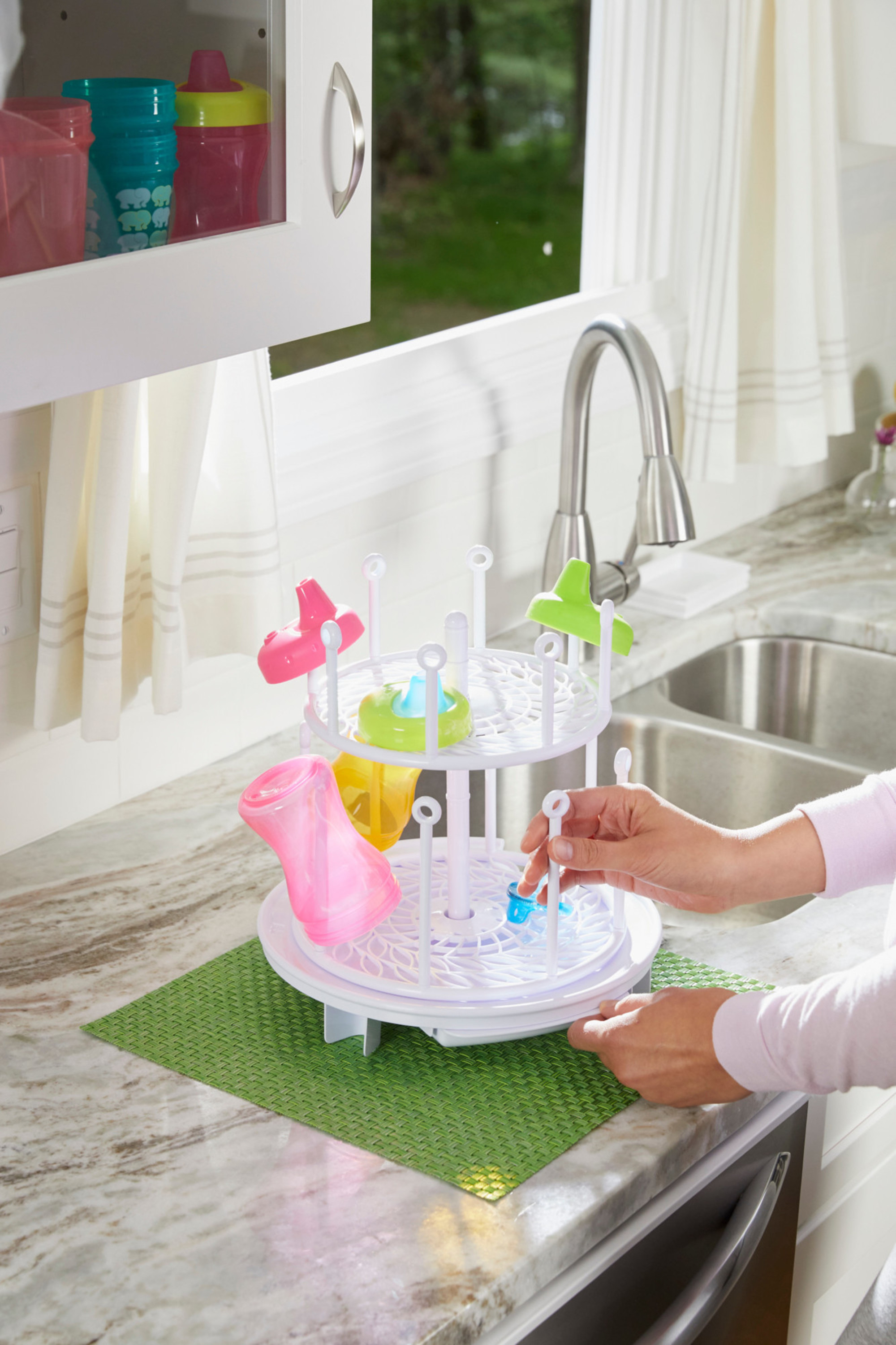 Baby Bottle Dryer Rack ,Countertop Drying Rack for Bottles Cups Pump Parts and Accessories ,Stylish Nursery Accessories Perfect for Baby Shower Gift Teats Baby Essentials for New Parents