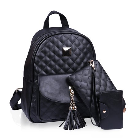 863cd1e8bde HDE Small Fashionable Backpack for Women Mini Black Quilted Fashion  Backpacks Purse