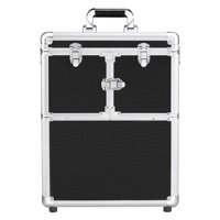 SmileMart Rolling Makeup Case Trolley with Wheels, Mirror, & Retractable Trays, Black