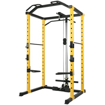 1000-Pound Capacity Adjustable Power Cage with Lat Pulldown