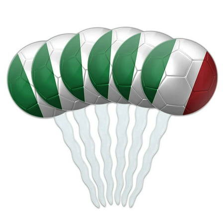 Italy Flag Soccer Ball Futbol Football Cupcake Picks Toppers - Set of 6 - Soccer Cupcake Toppers