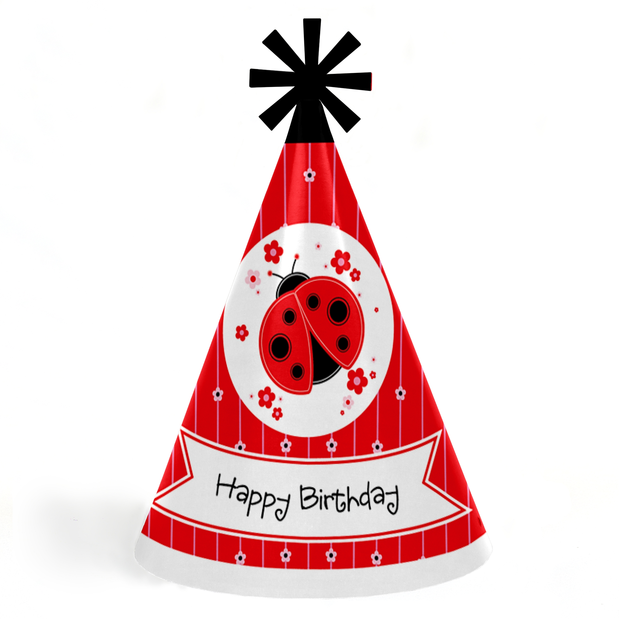 Modern Ladybug - Cone Happy Birthday Party Hats for Kids and Adults - Set of 8 (Standard Size)