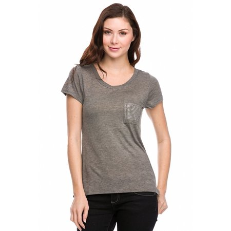- Sassy Apparel Womens Comfortable T-shirt Top with Embellished Pocket