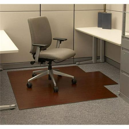 Dark Cherry Bamboo Roll-Up & Hardwood Office Chair Mat 55 X 47