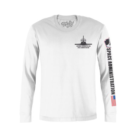 1e8aebe6 Tee Luv - Tee Luv NASA Long Sleeve Worm Logo T-Shirt - NASA Space Shuttle  Graphic Tee - Walmart.com