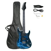 Lightning Style Electric Guitar with Power Cord/Strap/Bag/Plectrums Black & White