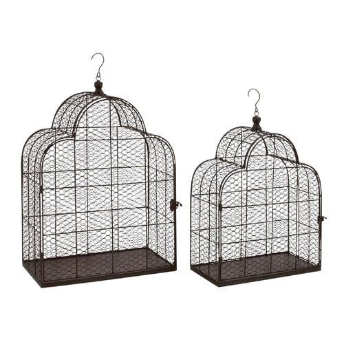 Woodland Imports 2 Piece Classy Metal Wire Bird Cage Set