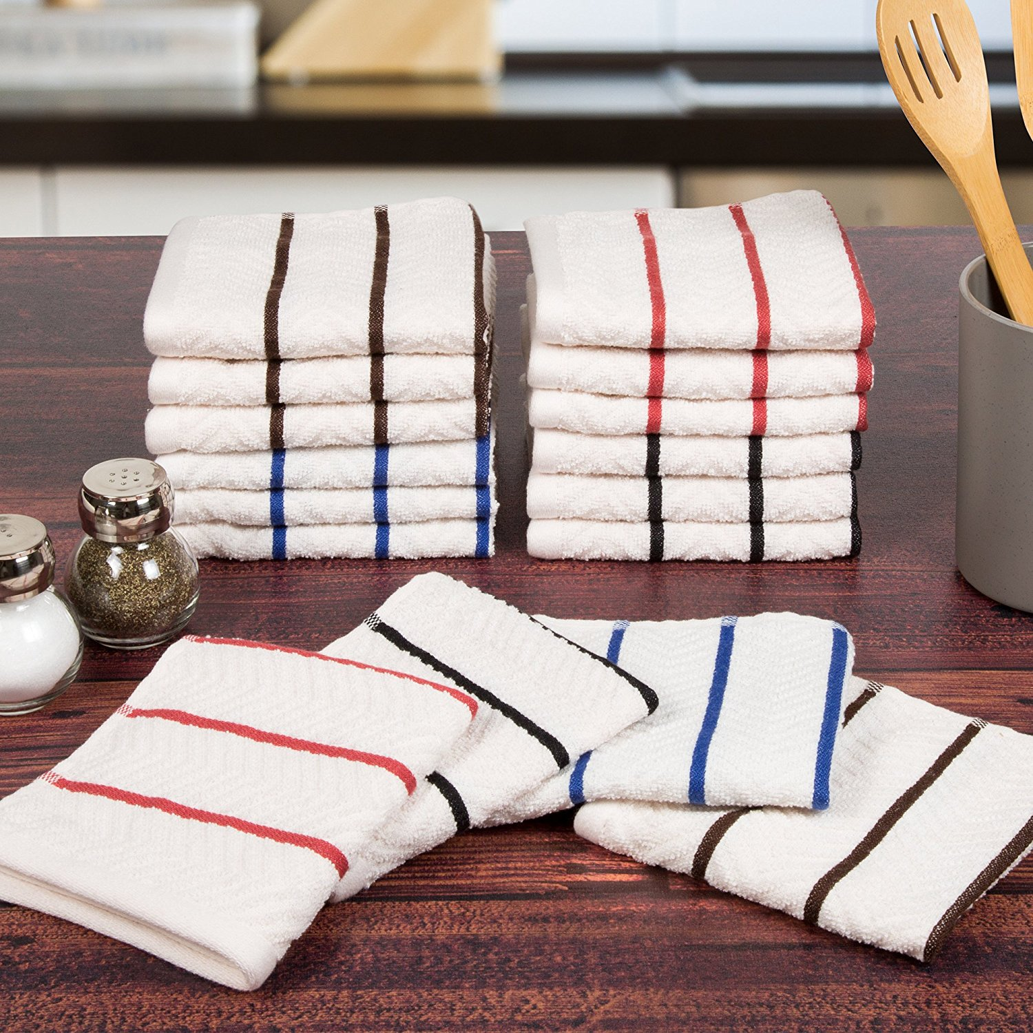 16 Piece 100% Cotton Chevron Terry Kitchen Towel Washcloth Set, 100% Egyptian Cotton By Lavish Home