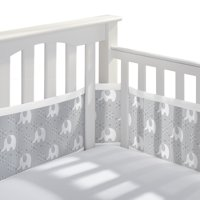BreathableBaby Classic Breathable Baby Mesh Crib Liner, Anti-Bumper, Non-Padded – Peaceful Elephant Gray