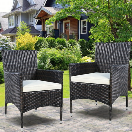 Costway 2PC Chairs Outdoor Patio Rattan Wicker Dining Arm Seat With Cushions (Wicker Chair Outdoor)