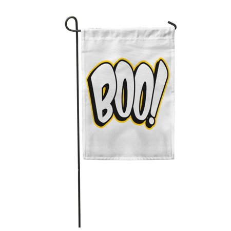 Boo Halloween Signs (KDAGR Scary Boo Sign Black Celebration Greeting Halloween Holiday White Garden Flag Decorative Flag House Banner 12x18)