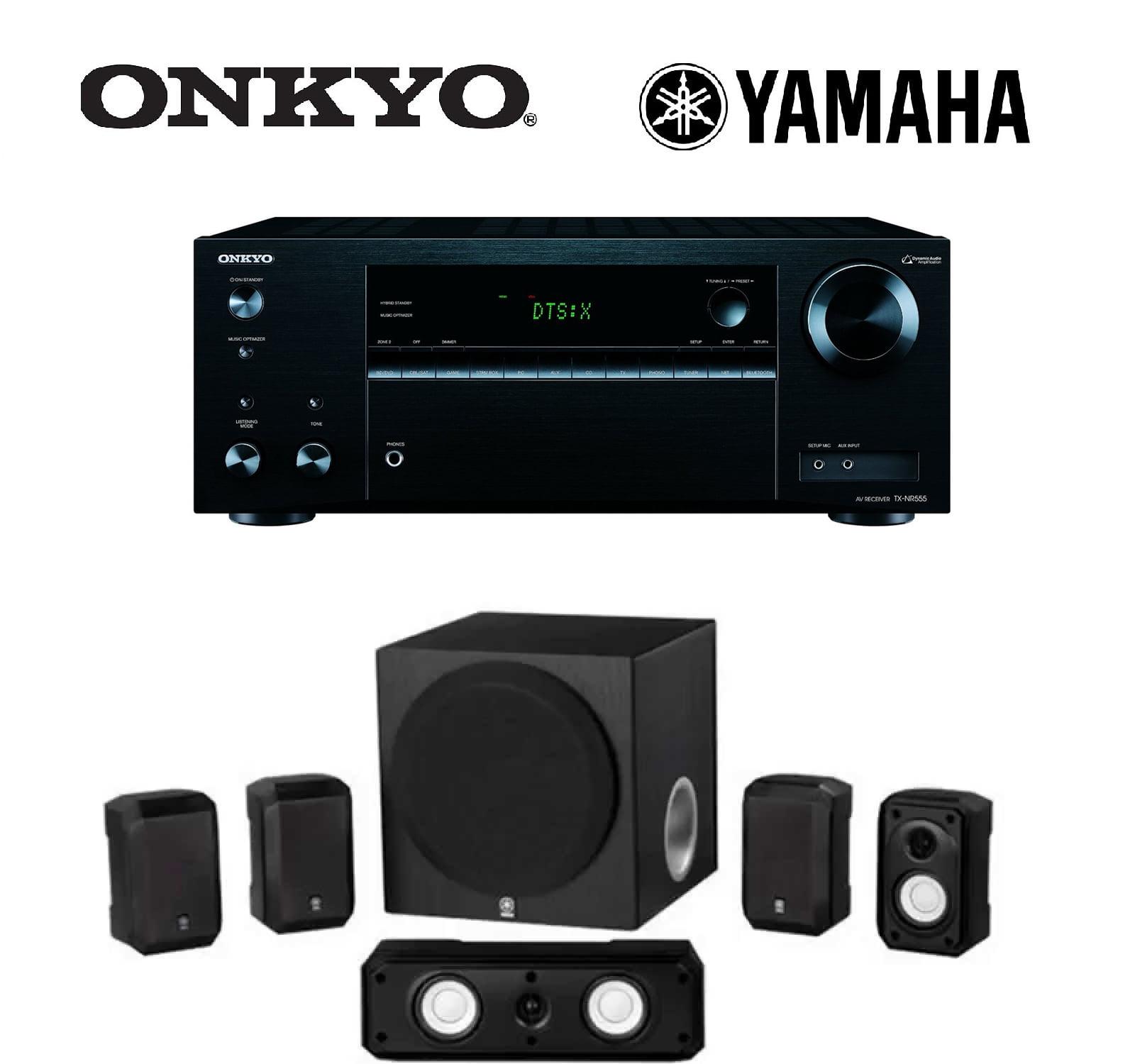 Onkyo TX-NR555 7.2-Channel Network A/V Receiver + Yamaha NS-SP1800BL 5.1-Channel Home Theater Speaker Set Bundle