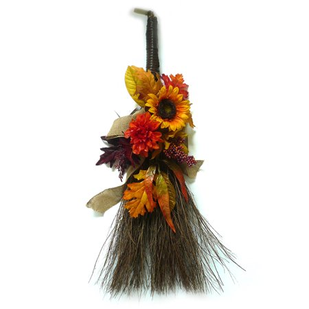 Glitter Yellow Sunflower Harvest Broom - Halloween Cheese Brooms