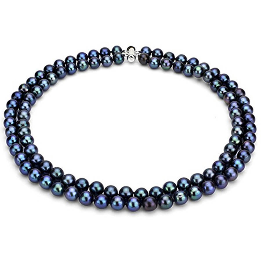 """Image of Black Freshwater Pearl Necklace for Women, Sterling Silver 2 Row 17"""" & 18"""" 7x8mm"""