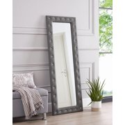 "Crystal Tufted Floor Mirror Gray 63"" x 22"" by Naomi Home"