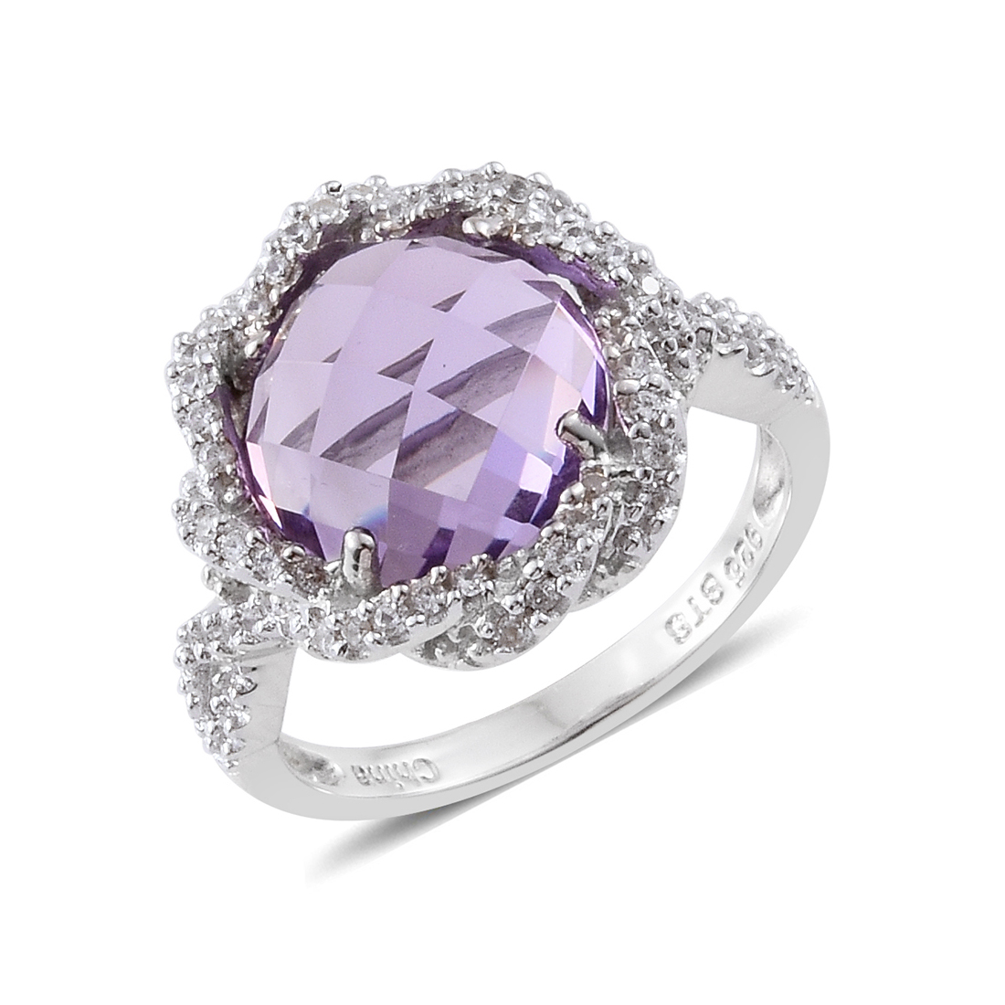 Pink Amethyst Zircon Rhodium Plated Silver Cluster Ring 4.7 cttw by Shop LC