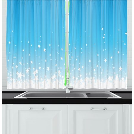 Abstract Curtains 2 Panels Set, Stars Splashing Down Open Sky Vibrant Celestial Rays Beams Artful Design, Window Drapes for Living Room Bedroom, 55W X 39L Inches, Sky Blue White, by Ambesonne