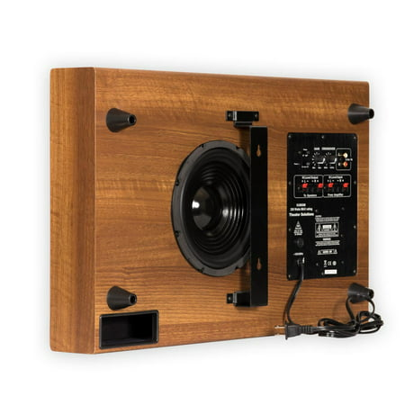 "Theater Solutions (SUB8SM) SUB8SM Home Theater Powered 8"" Slim Subwoofer Mahogany Sub"