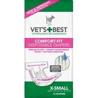 (Choose Size) Vet's Best Comfort Fit Disposable Female Dog Diapers, 12 Count