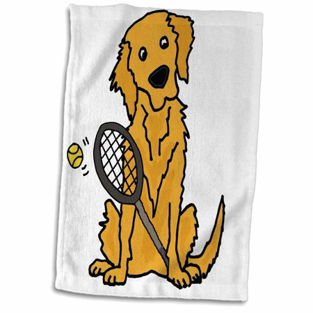 3dRose Cute Funny Golden Retriever Puppy Dog Playing Tennis - Towel, 15 by 22-inch
