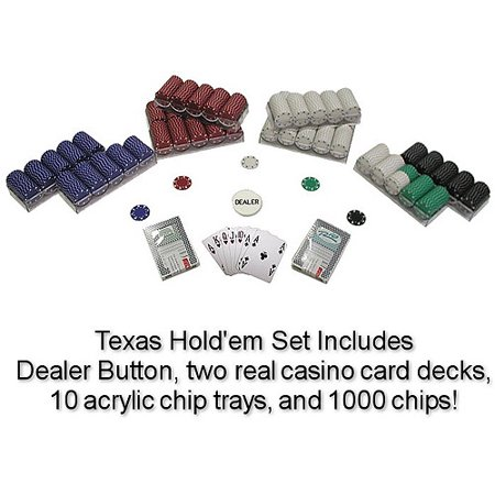 Trademark Poker 1000 Suited 11.5 Gram Poker Chips Texas Hold'Em Set Double Suit Clay Poker Chip