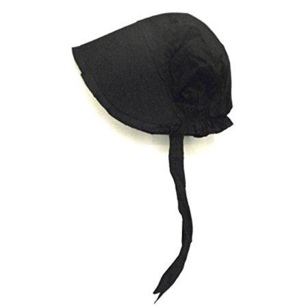 (100% black cotton prairie pilgrim amish bonnet large thanksgiving hat)