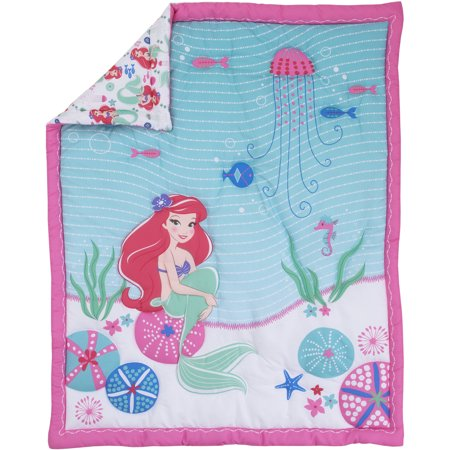 Disney Ariel Ocean Beauty 4pc Crib Bedding (Velvet Crib Set)