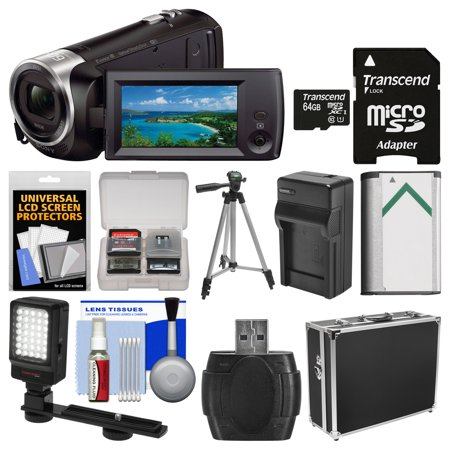Sony Handycam HDR-CX440 8GB Wi-Fi 1080p HD Video Camera Camcorder with 64GB Card + Hard Case + LED Light + Battery & Charger + Tripod +