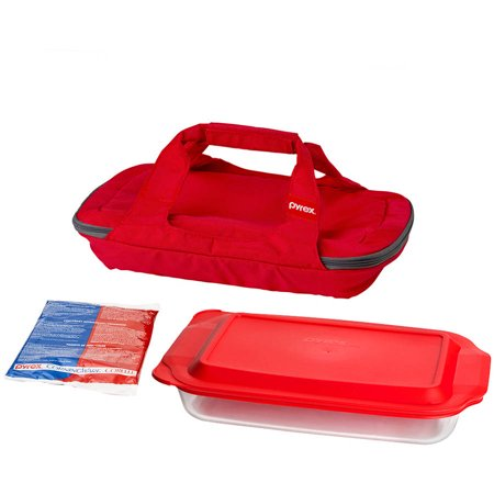 Bakeware Rectangular Baker (Pyrex Bright Red Portable with 3 Quart Oblong Baker Hot & Cold Pack, 1)