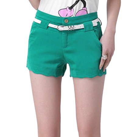 Women's Mid Rise Belt Loop Zip Fly Button Closed Casual Shorts
