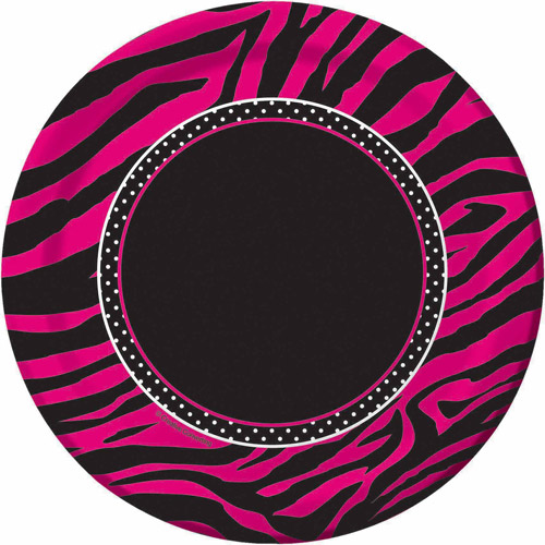 "Creative Converting Pink Zebra Boutique 7"" Dessert Plates, 8pk"
