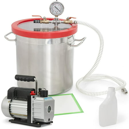 Gizmo Supply Vacuum Chamber 5 Gallon + 3 CFM Single Stage Pump Degassing Silicone (Chamber Set)