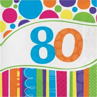 Party Creations Bright And Bold 80th Birthday Lunch Napkins, 18 Ct