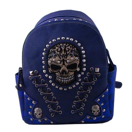 Western Style Sugar Skull Backpack Blue
