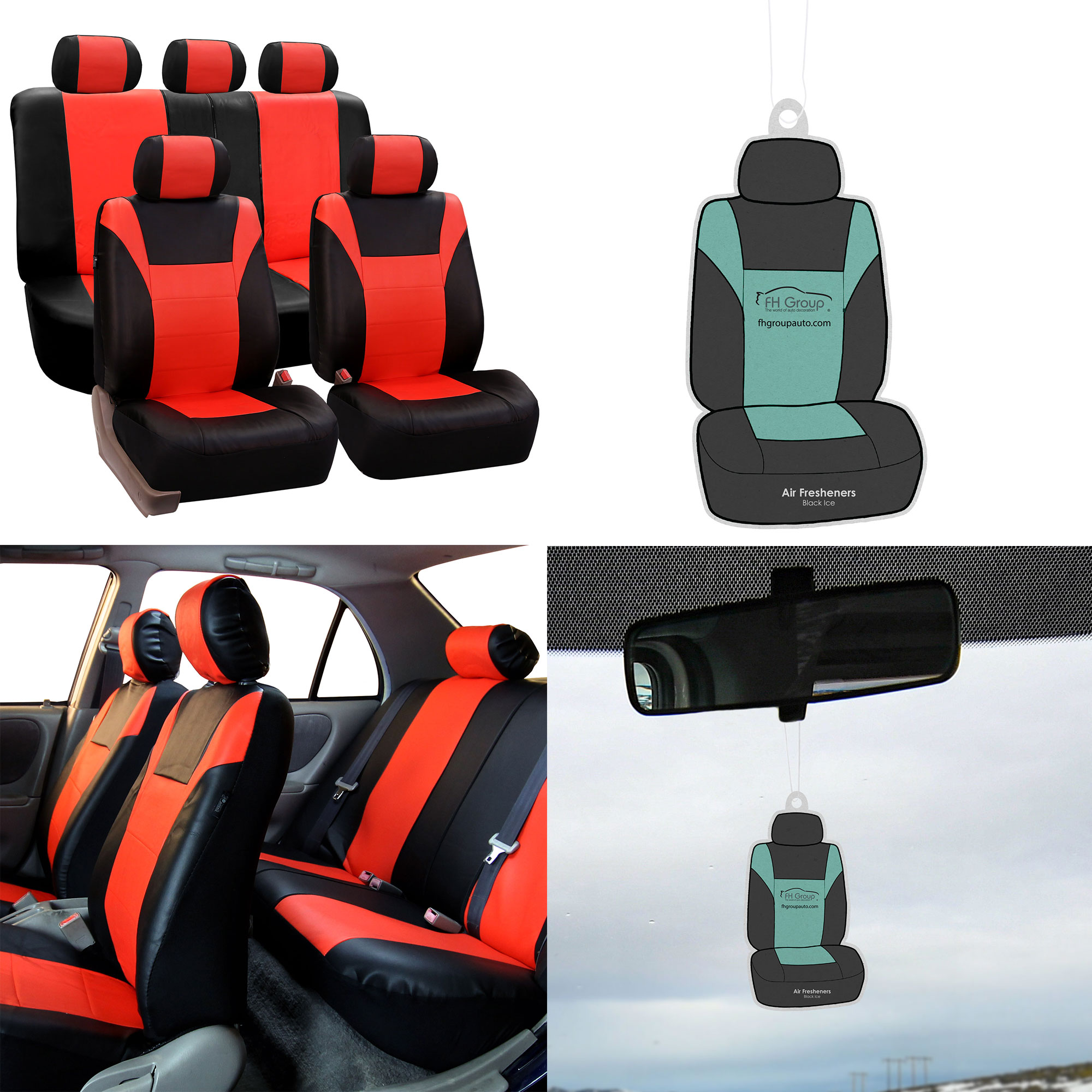 FH Group, Leather Seat Covers for Car Tangerine w/ Free Air Freshener, Airbag Compatible / Split Bench Covers