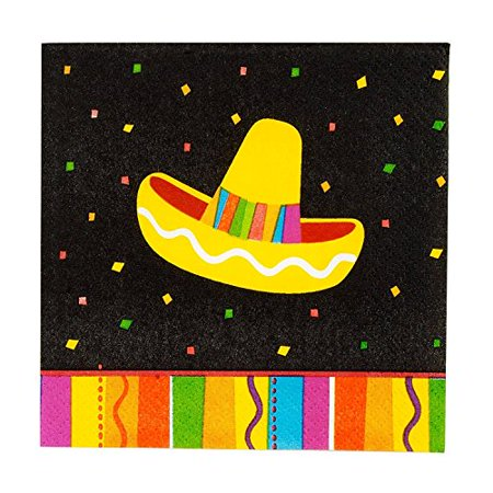 2 Set of 16 Amscan Fun Fiesta Bright Fiesta Beverage Napkins bundled by Maven Gifts