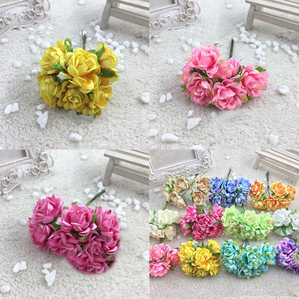 HiCoup 6Pcs Artificial Silk Fake Flowers Floral Wedding Bouquet Party Home Decoration