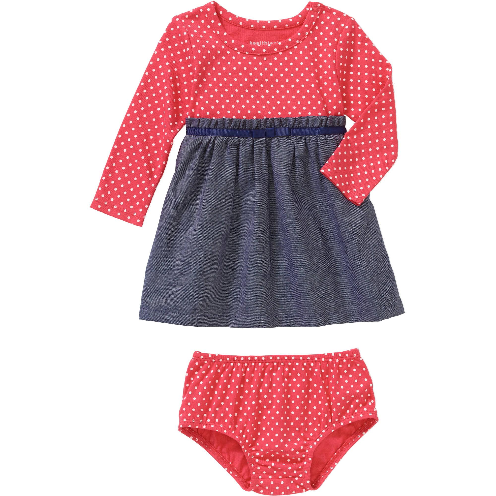 Healthtex Newborn Baby Girls' Knit Short Sleeve 2-Fer Dress and Bloomer Set